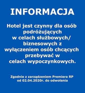 informacja hotel czynny tylko dla osób podróżujących w celach służbowych